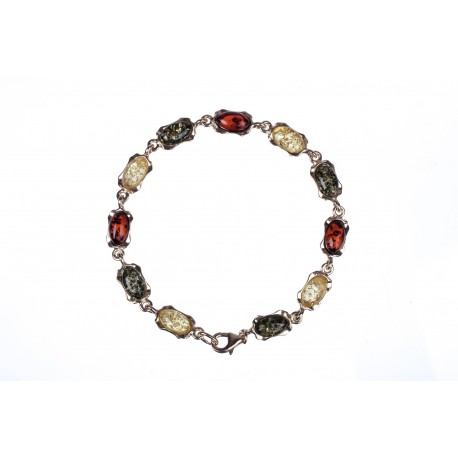 Golden bracelet with multicoloured amber