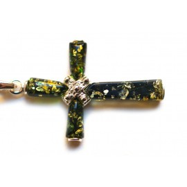 Silver Cross With Green Amber