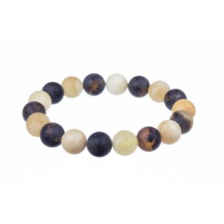 White and black amber bracelet