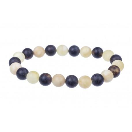 Black and white amber bracelet