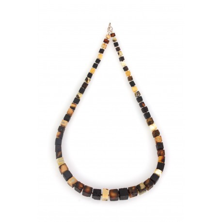 "Necklace of multicoloured amber cubes ""Warm Cosiness"""