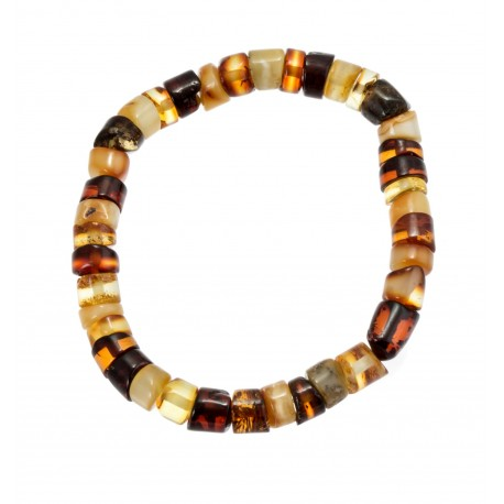 Multicoloured amber bracelet