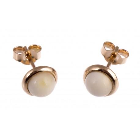 Auksiniai auskarai su baltu gintaru