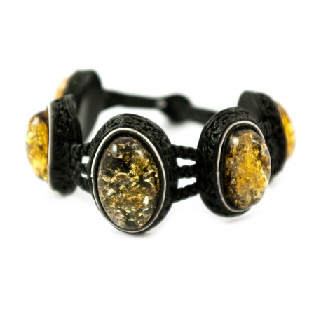 Black leather bracelet with green amber