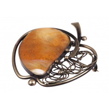 """Brass brooch with amber """"An Apple"""""""