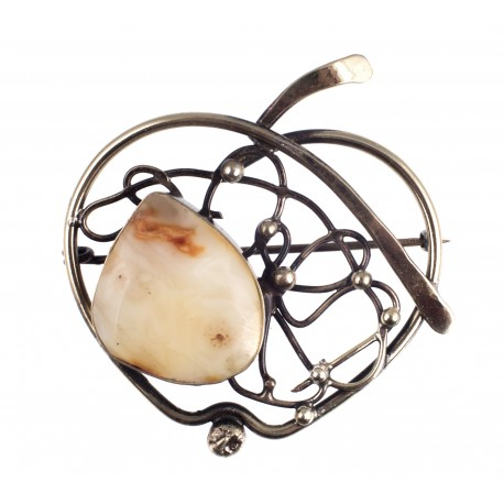 """Brass brooch made of twisted threads """"Apple"""""""
