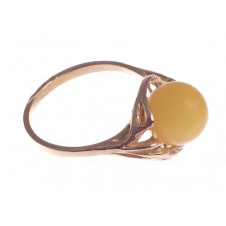 Auksinis žiedas su geltonu gintaru