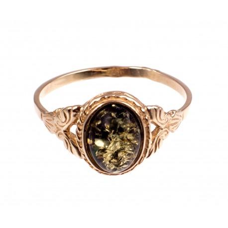 Auksinis žiedas su gintaru