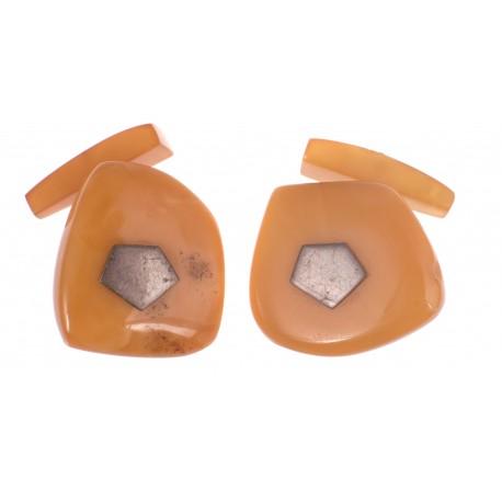 Antiquarian, yellow matted amber cufflinks