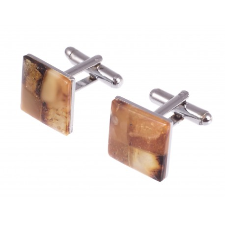 "Square-form amber cufflinks ""The Authority"""