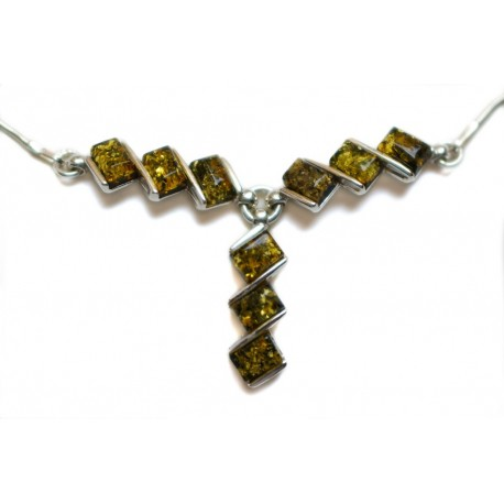 Silver necklace with stylized amber pieces of greenish tones