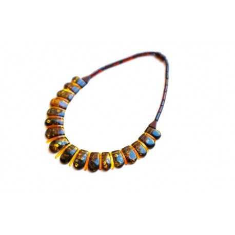 Classical amber necklace glittering with luxury