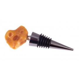 Wine stopper decorated with amber