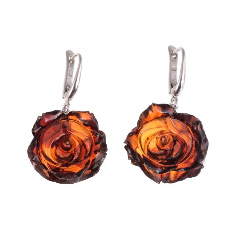 "Silver - amber earrings ""Chocolate Rose"""
