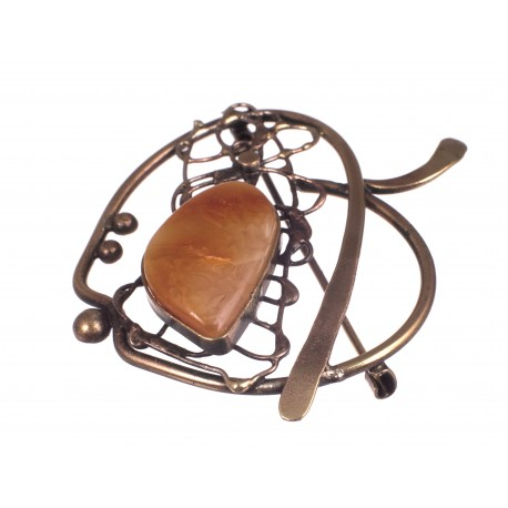 "Brass brooch with amber ""An Apple"""