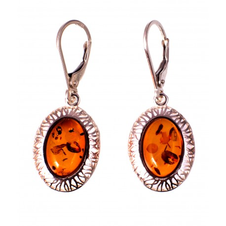 Amber - silver earrings with inclusions
