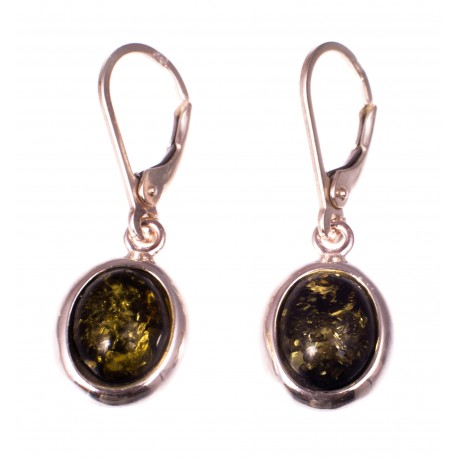 """Silver earrings with amber """"Hidden Thoughts"""""""