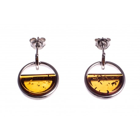 "Amber - silver earrings "" Between Heaven and Earth"""