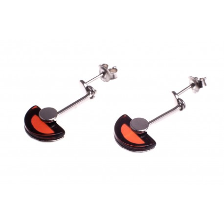 """Silver earrings with amber """"Night's Charm"""""""