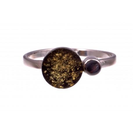 """Gintaro - sidabro žiedas """"Žiburiai"""""""