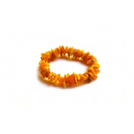 Matted yellow aged amber bracelet