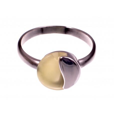"""Sidabrinis žiedas su gintaru """"Sniegynai"""""""