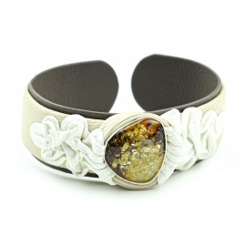 White and black leather bracelet with amber