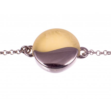 Silver bracelet with white amber