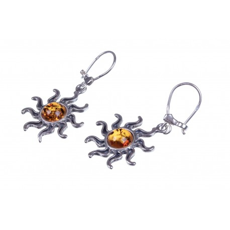 Silver earrings with cognac amber
