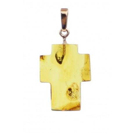 Gintarinis pakabukas - kryžiukas su inkliuzu
