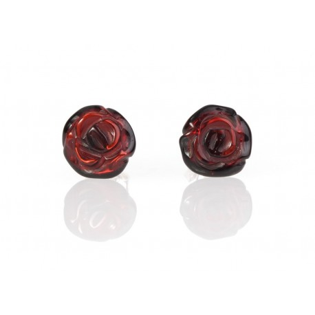 "Amber - silver earrings ""Cherry Roses"""