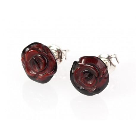 "Amber - silver earrings ""Flourishing Roses"""