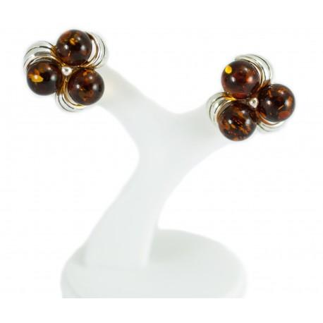 """Silver-amber earrings """"Dew Droplets"""""""
