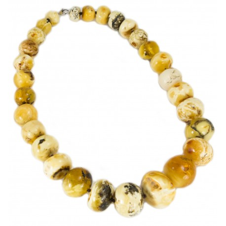 Amber beads necklace of white and yellow colors