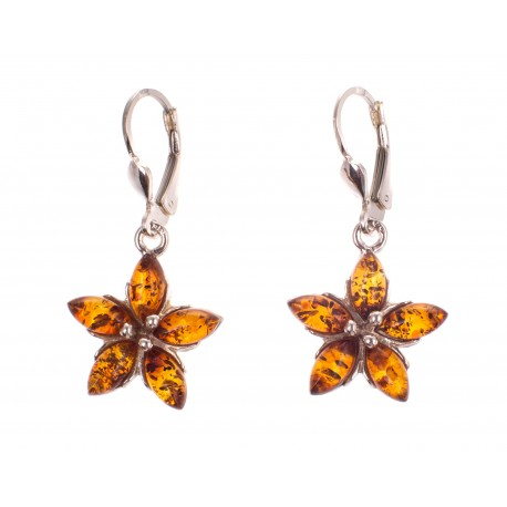 """Silver earrings with amber """"Yellow Blossom"""""""