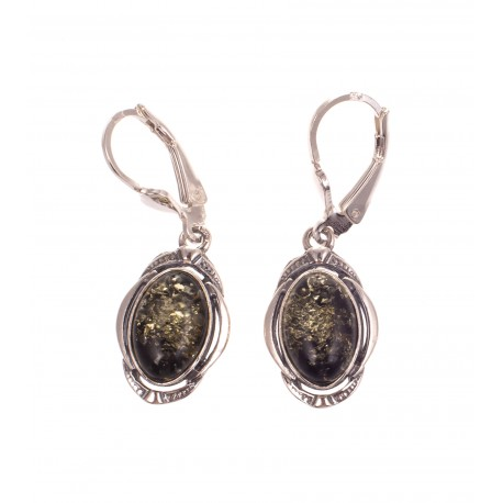 """Silver earrings with amber """"The Mirror of Amber"""""""