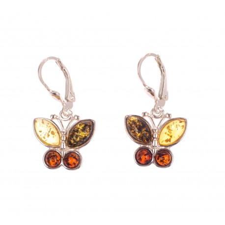 """Silver earrings with amber """"The Butterflies"""""""