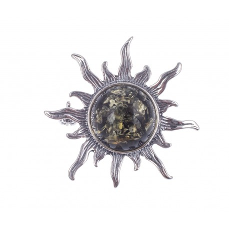"""Silver brooch with amber """"The Branch of a Chestnut Tree"""""""