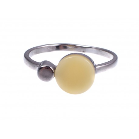 Silver ring with white amber