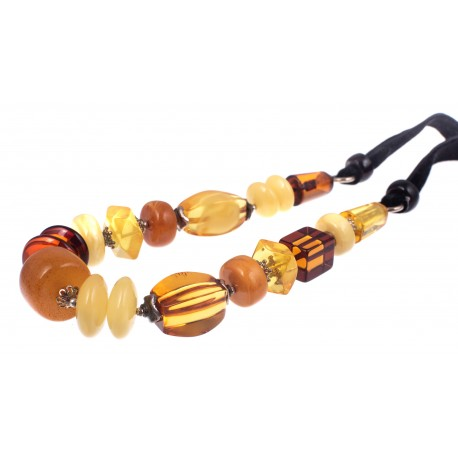 Unique Baltic amber and silver necklace