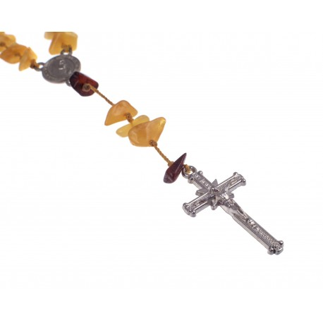 Christian rosary of cognac and yellow amber