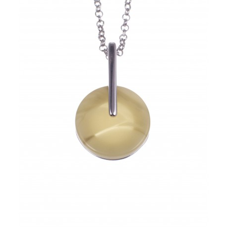 Silver necklace with white amber