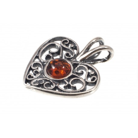"Amber-silver pendant ""Heart"""