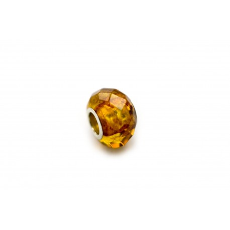 Diamond-polished amber-silver bead
