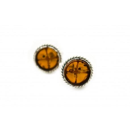 Round silver-amber cufflinks