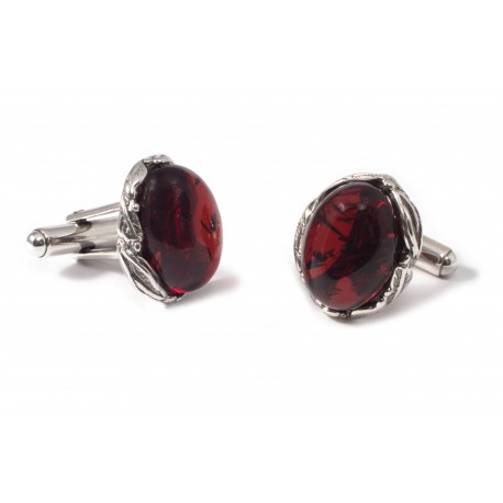 Silver cufflinks of cherry amber