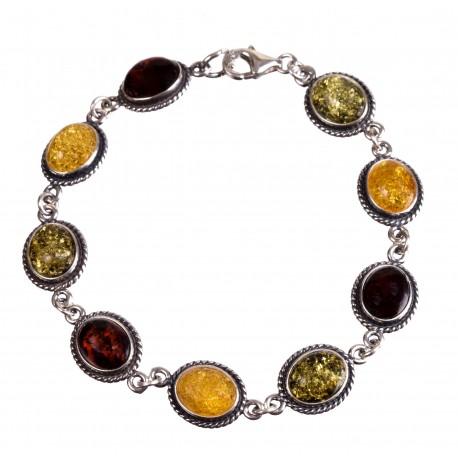 Silver-amber bracelet