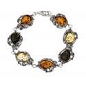 Silver bracelet of tricolor amber