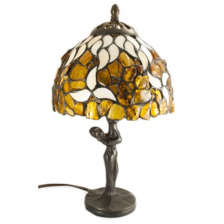 Lamp with a hood decorated with the natural Baltic amber