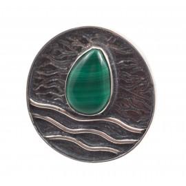 Unique silver ring with malachite